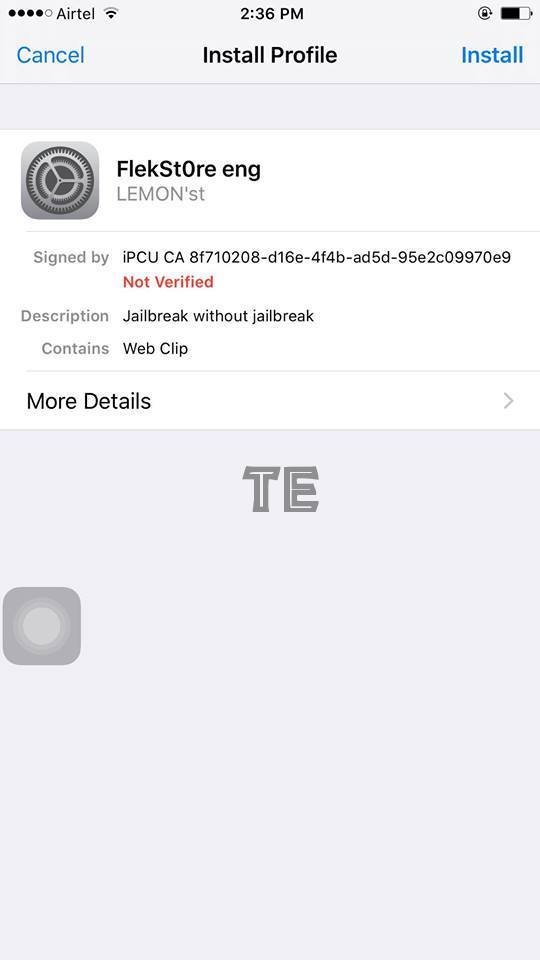 install flekstore to install cydia app without jailbreaking