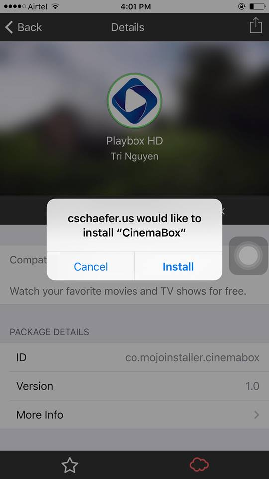 Playbox HD app on iPhone using Mojo 5 app store