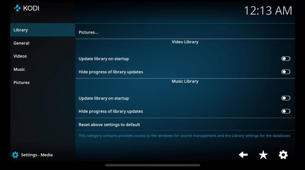 media settings on kodi app