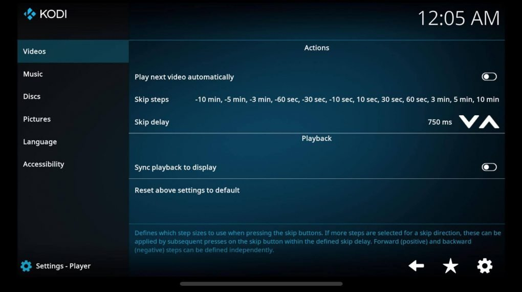 player settings on kodi iphone app