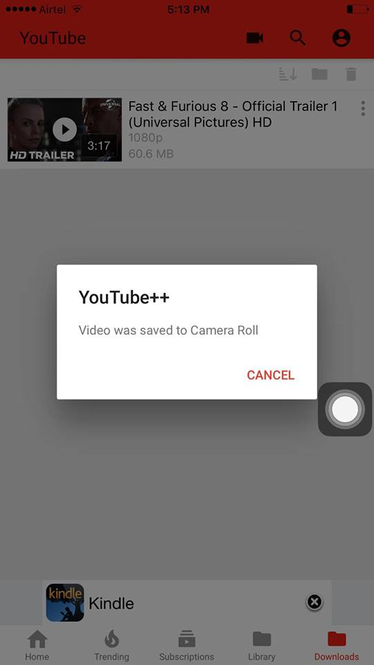 save youtube videos to camera roll on iphone