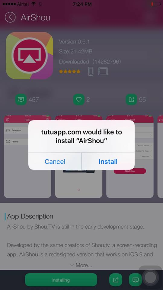 tutuapp.com would like to install airshou on on your iphone