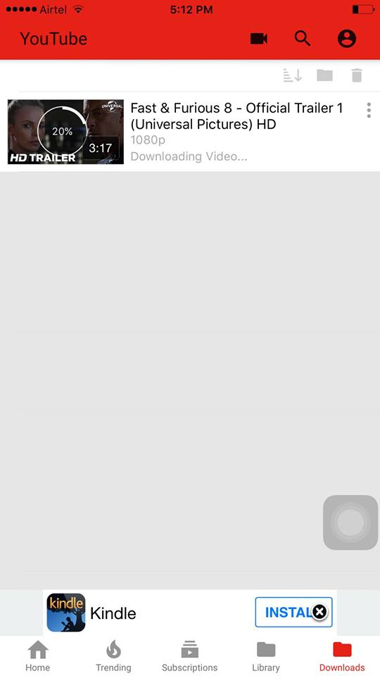 video downloading progress on youtube++ app on iPhone
