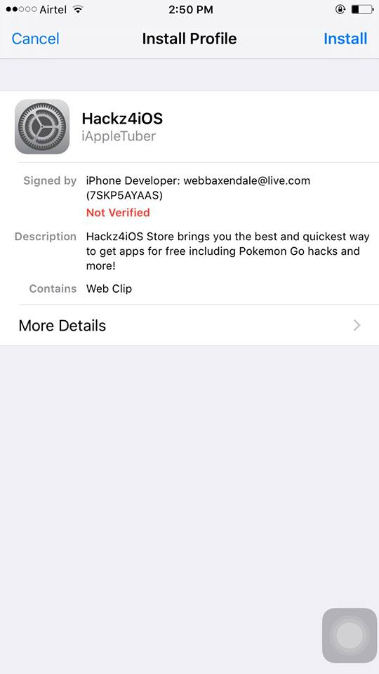 Install Hackz4ios profile on iOS 10