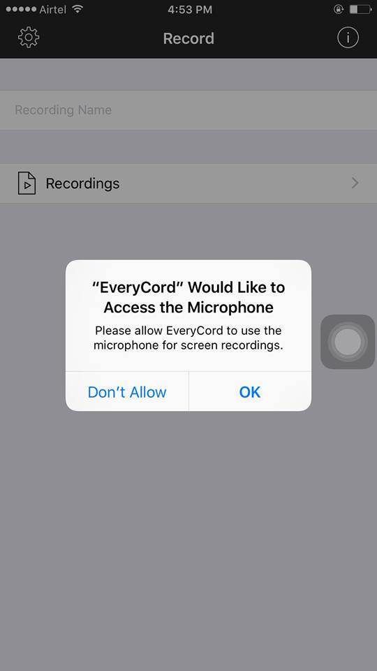 allow access to your microphone and photos to everycord screen recorder