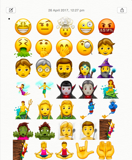 latest unicode ios 11 emojis for iphone
