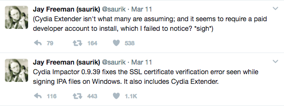 saurik tweated about cydia extender
