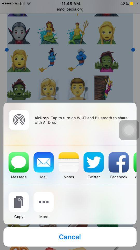 share ios 11 emojis through social apps