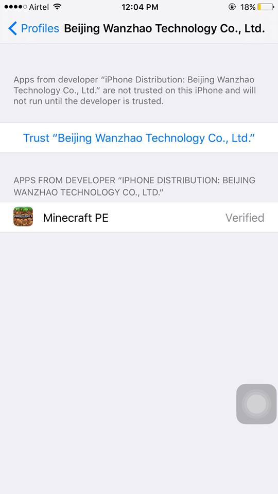 trust minecraft pe developer on iphone