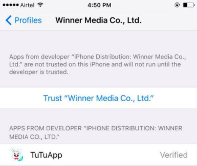trust tutu helper profile on your iphone