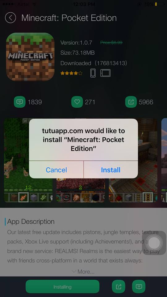tutuapp.com would like to install minecraft pocket edition