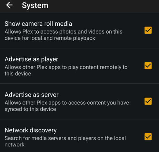 kodi alternative plex settings on android