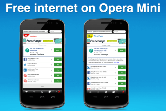 opera mini handler free internet on android