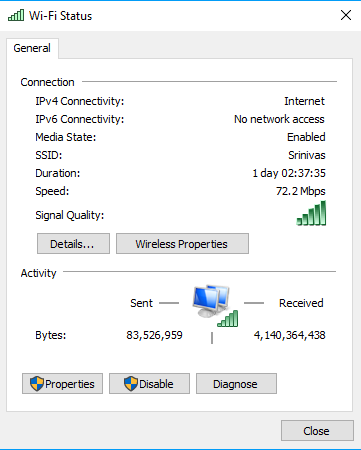laptop connected to wifi but no internet access windows 10