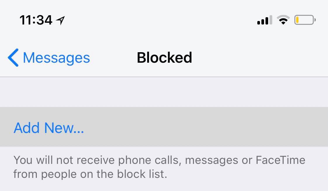 block text messages on ios 11