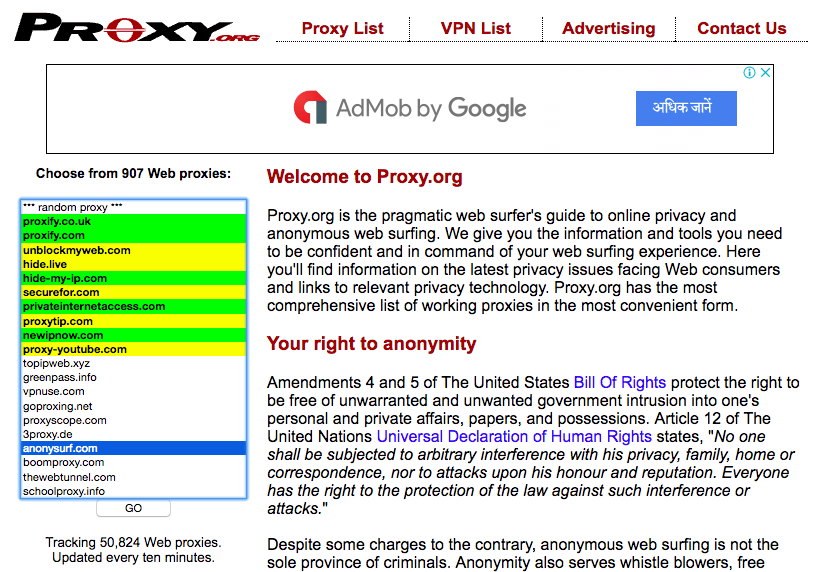 unblocked proxy sites
