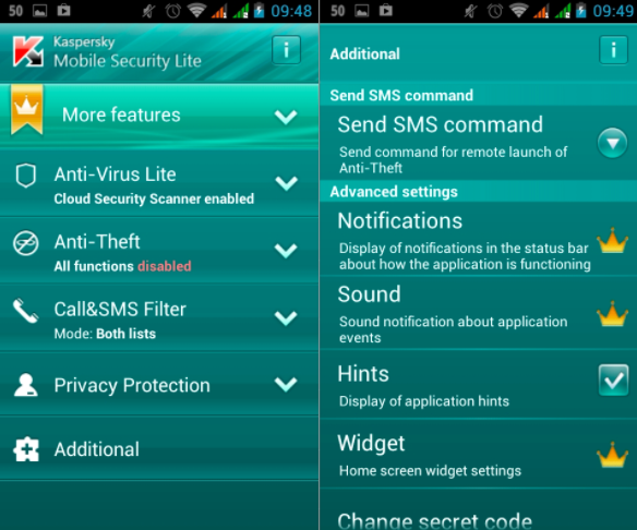 Kaspersky Mobile Security antivirus android apps free download