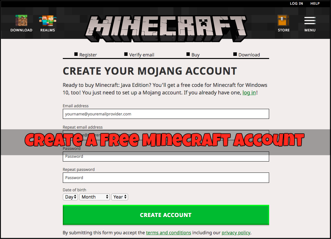 create a free minecraft account